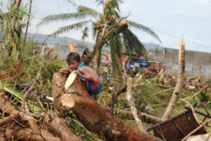 A boy sits amidst the wreckage of Typhoon Haiyan in Bohol, Philippines